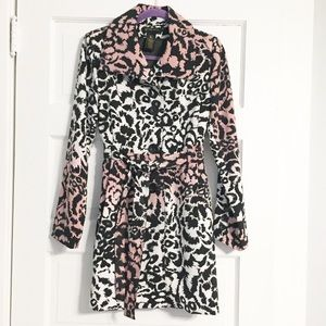 Grass Collection Pink/Black/White Cheetah Trench